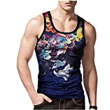 Fansu 3D Camiseta de Tirantes para Hombres, Capucha Cómodo Fitness Gym Muscular Absorbente Chaleco Bodybuilding Tank Top Sport Vest Culturismo (L,Astronauta)