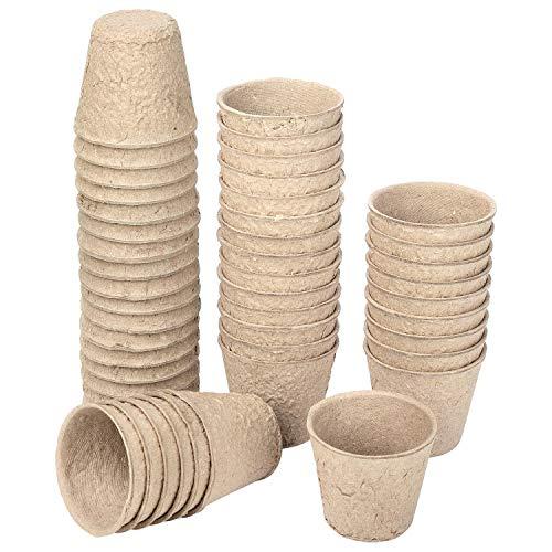 Schramm® - Vaso da coltivazione 24, 48 o 96 pezzi in cellulosa rotonda, 6 cm, biodegradabile, vaso in fibra