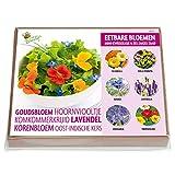 Set de cultivo de flores comestibles – 6 variedades con mini invernadero