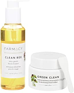 Farmacy Double Cleansing Duo! Clean Bee Facial Cleanser And Green Clean Makeup Cleansing Balm! Ultra-Gentle Face Cleanser Removes Excess Oil & Impurities! Makeup Remover Cleansing Balm!