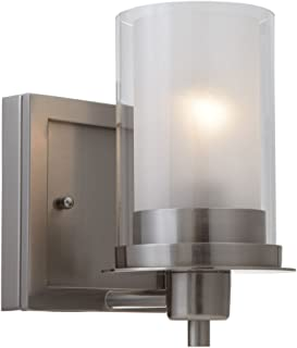 Designers Impressions Juno Satin Nickel 1 Light Wall Sconce/Bathroom Fixture with Clear and Frosted Glass: 73466