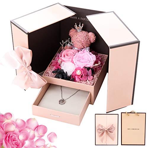 DreamJing Überraschung Box für Valentine - Ewige Rose& Künstliche Rosenbär, Handgemacht Konservierte Rose, Rosa Rosenbär zum Geschenkbox für Ringe Halskette Geschenke, 13cm x 13cm x 17cm - Kreative