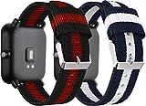 Nylon Trenzado Correa de Reloj Compatible con Galaxy Watch 46mm / Watch 3 45mm / Gear Live, Clásicos exquisitos Pulseras de la Correa de los Hombres (22mm, 2PCS D)