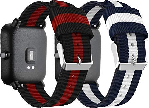 Simpleas Compatible con Amazfit GTR 42mm / GTS/Bip Correa de Reloj, Pulsera Deportivo de Reloj de Nylon, con Cierre de Clip, Respirable y Reemplazable (20mm, 2PCS E)