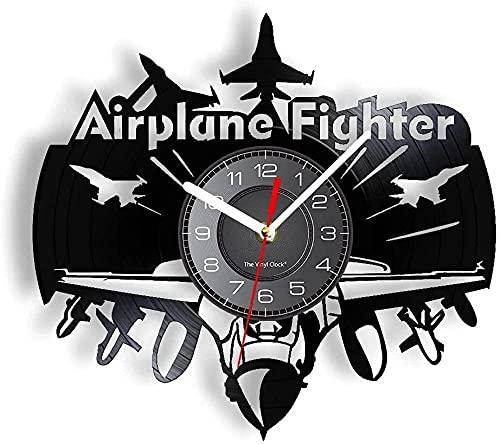 yltian Reloj de Pared con Registro de Vinilo de piloto de Combate de avión, Reloj de Pared de aviación de Oficina de Combate, artesanía de la Fuerza Aérea de piloto