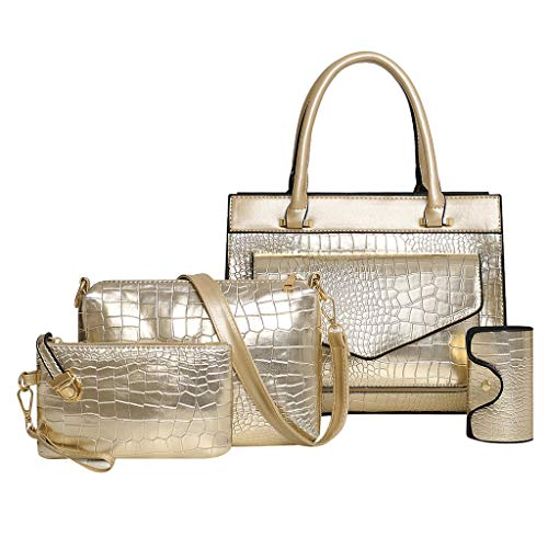 Lowest Prices! Women Briefcase Top Handle Croc Pattern Leather Handbag Set with Crossbody Pouch Stra...