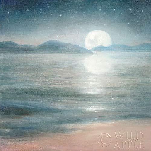 Rahmen-Kunst Keilrahmen-Bild – Danhui Nai: Half Moon Dream Leinwandbild Mond See Nacht Romantik...