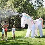 BAIVIT Riesiges Wasserspray-Spielzeug, aufblasbares Einhorn-Spray-Pad-Sommer-Partei Unterhaltung Material-Sprinkler, 220x160cm