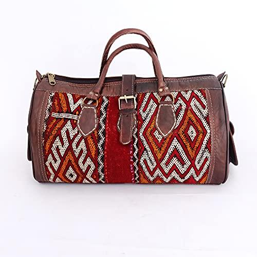 Boho Travel Weekend Bag   Kilim Travel Bag   Leather bag   Mother's Day Gift   Unisex Bag (M)