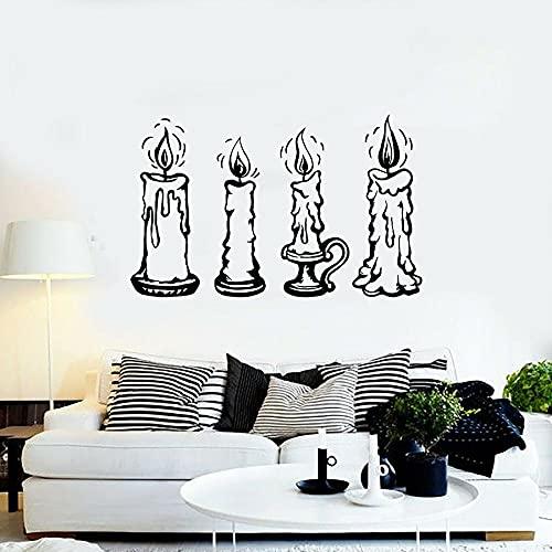 HGFDHG Candelabro Calcomanía de Pared Vela Luz Decoración de la casa Dormitorio Sala de Estar Arte Vinilo Etiqueta de la Ventana Mural