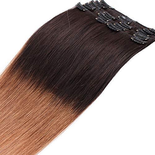 SEGO Extension Clip Capelli Veri Shatush con 18 Clips 50cm - 100% Remy Human Hair 8 Fasce Lisci Naturali Parrucca Donna 70g #2T6 Marrone ombre Castano