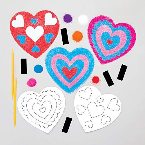 Baker Ross Hart zandkunst magneten knutselset voor kinderen (6 stuks) creatieve sets om te knutselen en te decoreren…