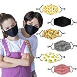 6Pcs Washable Reusable Kids Face Mask , Cloth Cotton Cute Breathable Unisex Facemask , Fabric Covering with Adjustable Ear Loops for Girl Boy Children Gift