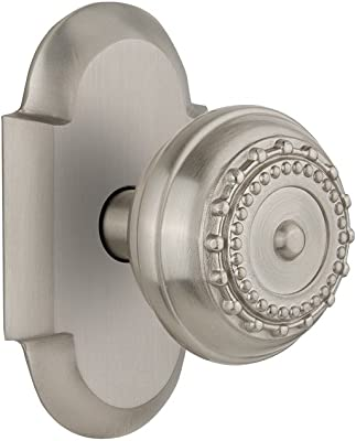 """Nostalgic Warehouse Cottage Plate with Meadows Door Knob, Privacy - 2.375"""", Satin Nickel"""
