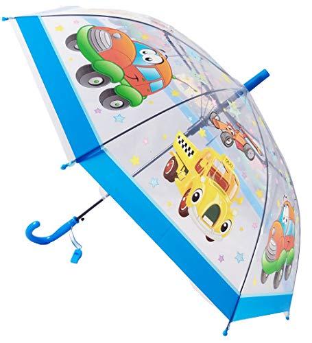 Paraguas Infantil/para niños, Transparente, con diámetro de 75 cm, Largo y automático con Dibujos de Animales, Coches, Motos, Trenes, cocodrilos, Ranas, Alpacas,Abejas, Pirata, pajaros. (Azul Claro)