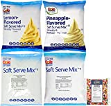 Dole Lactose-Free Soft Serve Mix 4 Flavor Variety Pack, 1 of Each Pineapple, Raspberry, Lime, and Lemon with By The Cup Rainbow Sprinkles