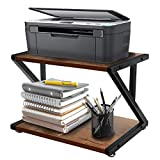 Desktop Printer Stand with 2 Tier Wood Storage Shelves, Rustic PrinterTable, Multi-Purpose Desk Organizer for Fax Machine, Scanner, Files, Home Printer Stand with Adjustable Anti-Skid Feet