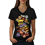 Wellcoda des Bandes dessinées Élégant Mode Femme T-Shirt à col en V Typographie T-Shirt Graphique