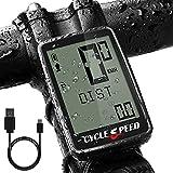 CYCLESPEED Ciclocomputador recargable por USB, inalámbrico, resistente al agua, accesorio para bicicleta, velocímetro, 21 funciones multifuncionales para bicicleta de montaña y carreras