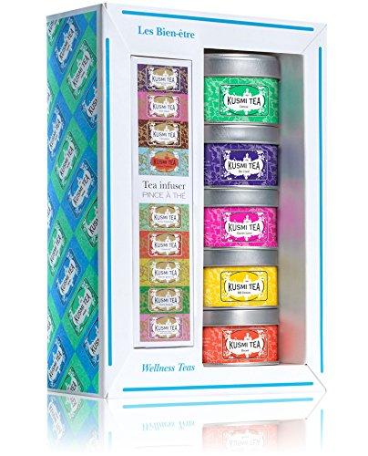 Kusmi Tea - Coffret de 5 Miniatures Les Bien-Être + Pince à Thé - Assortiment Thés Aromatisés et Infusion- Thé Detox, BB Detox, Boost, Sweet Love et Infusion Be Cool - Boîtes à Thé en Métal
