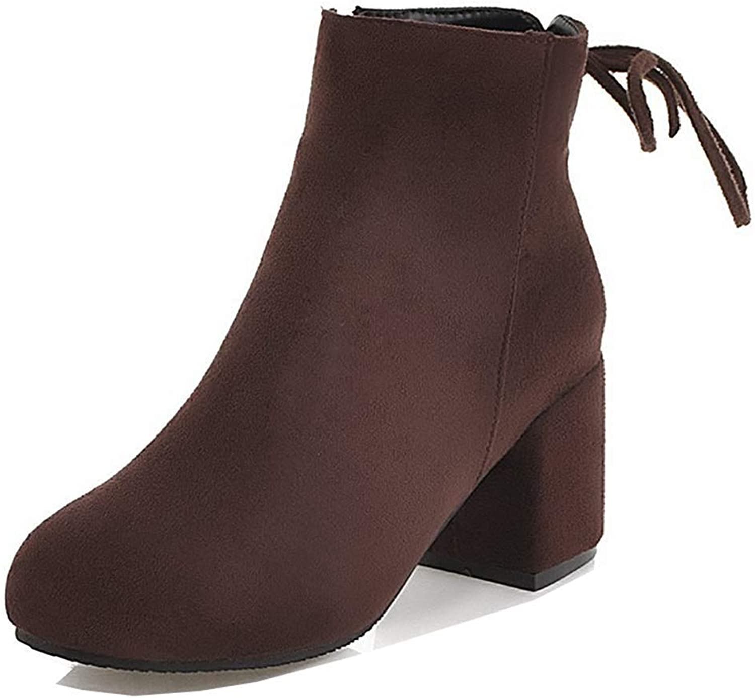 Unm Women's Comfort Simple Mid Chunky Heel Faux Suede Round Toe Dress Ankle Boots with Zipper