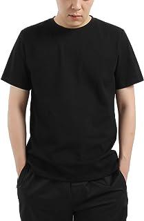 CAIHUI Tシャツ 100% コットン 厚手 (230-300g) クルーネック 半袖 ワンポイント ロゴ 刺繍 無地 ベーシック シンプル メンズ 20MC01A 20MC02A [並行輸入品]
