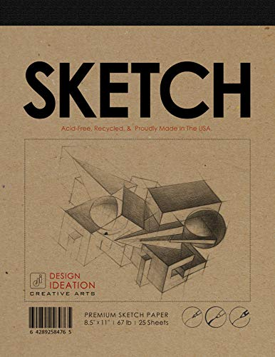 Design Ideation Sketch Pad. Premium Paper Sketch pad for Pencil, Ink, Marker, Charcoal and Watercolor Paints. Great for Art, Design and Education. (8.5 x 11)