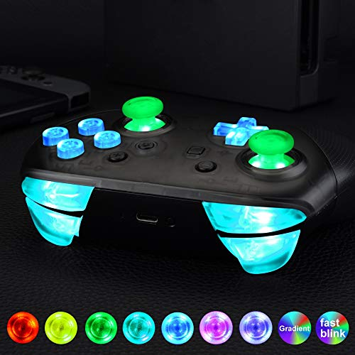 eXtremeRate Multicolores LED Botones para Mando Nintendo Switch Pro Botón de D-Pad Joysticks ABXY ZR ZL L R Teclas DTFS LED Kit para Control Pro Nintendo Switch-DIY 9 Colores Modos 6 Areas(Normal)
