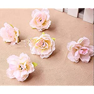 Artificial and Dried Flower 3.5CM 100Pcs Artificial Silk Small Hibiscus Flower Heads Wedding Party Decoration DIY Wreath Gift Box Craft Fake Flowers – ( Color: Light Pink )