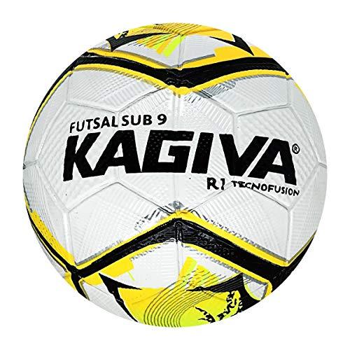 Bola De Futsal Kagiva Oficial Juvenil Sub 09 R1 Tecnofusion Para Quadra Resistente E Impermeável 1848 - Branco/Amarelo