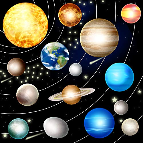 HORIECHALY Glow in The Dark Stars and Planets,Bright Solar System Wall Stickers -Sun Earth Mars,Stars,Shooting Stars and so on,Ceiling Decals for Kids Bedroom Any Room.
