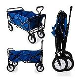 Heavy Duty Foldable Garden Trolley Cart Wagon - Blue