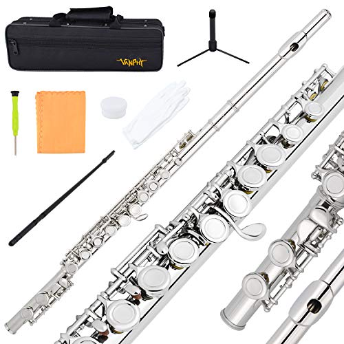 VANPHY Closed Hole C Flutes 16 Key Silver Nickel Flute for Beginner, Kids, Student with Hard Case,Stand and Flute Cleaning kit
