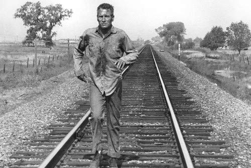 Paul Newman in Cool Hand Luke classic image running on rail tracks 24x36 Poster