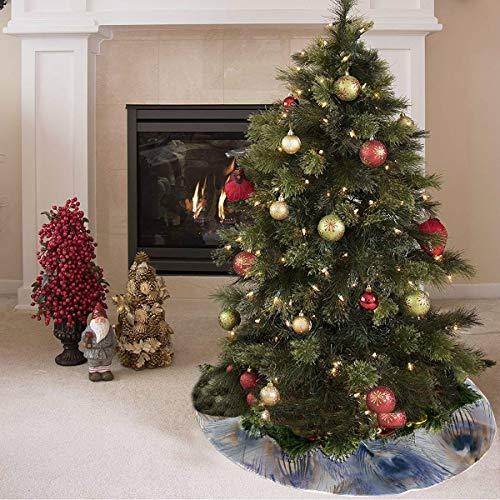 Falda de árbol de Navidad Hermoso pájaro Pluma de pavo real Estampado de flores Falda de árbol de Navidad personalizada Poliéster Falda de árbol de Navidad retro Alfombra para fiesta Decorac