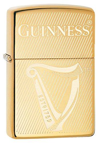 Zippo Unisex Guinness, Harfe winddichte aansteker, hoge Pools messing, regular
