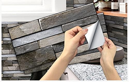 Adhesivo de pared de ladrillo blanco gris claro, pegatinas de azulejos de pared de PVC, decoración de baño de cocina de habitación Restaurar 15 cm * 30 cm * 18 piezas