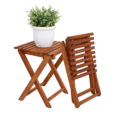 2x Hocker Eukalyptus Klapphocker FSC Holz Gartenhocker Garten Beistelltisch Holzhocker Vollholz Stuhl