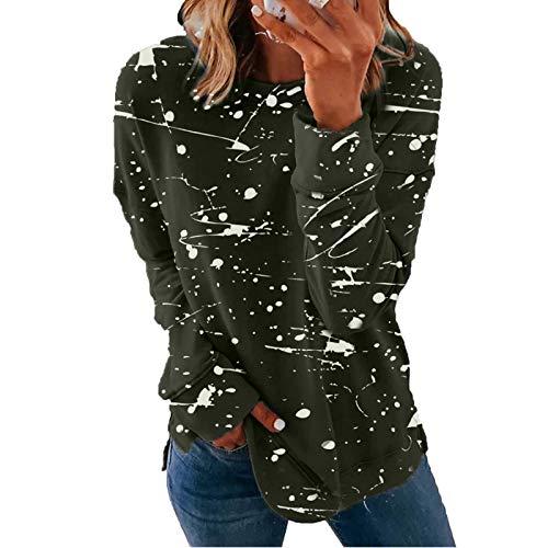 Sweatshirt mit Streifen Kordelzug Pullover Damen Unregelmäßige Linien Langarmshirt Casual Shirt Rundhals Lose Oberteil Tunika Tops Streetwear Lange