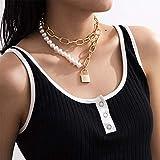 Anglacesmade Gargantilla de perlas con cierre punk grueso, 2 unidades, apilable, cadena de eslabones de papel para fiestas de graduación y festival, joyería para mujeres y niñas (dorado)