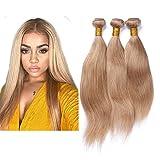 Mila 3 Bundles/Lot 100% Remy Echthaar Tressen Glatt Honigblond 27# Brasilianisches Human Hair Weave Bundles mit Lace Closure (14'16'18'+12'closure)