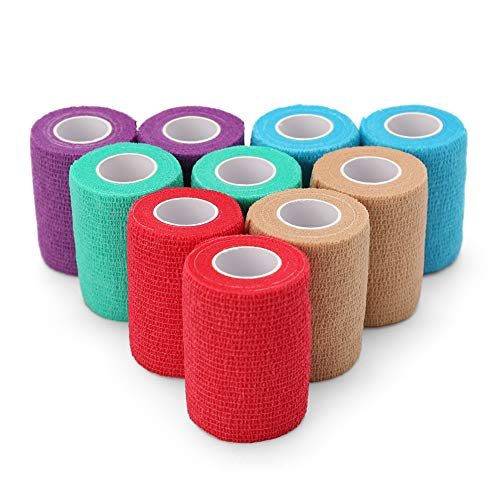 Self Adherent Wrap, 3 Inches x 5 Yards, 10 Rolls, Medical Tape, Self Adhesive Bandage Wrap, Elastic Cohesive Bandage, Flexible First Aid Tape for Sprain Swelling and Soreness, Assorted Color