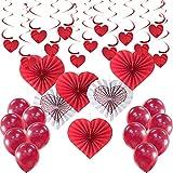 Aviski 35 Piezas Kit de Decoración Grande para el día de San Valentín - Corazones Rojos Colgar Decoración, Abanico Plegable Corazones Rojos, Globos Rojos de San Valentín Decoraciones de San Valentín