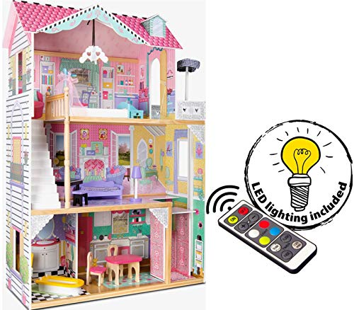 Leomark New Royal Mansion Doll Apart House Casa delle Bambole Plus Illuminazione a LED