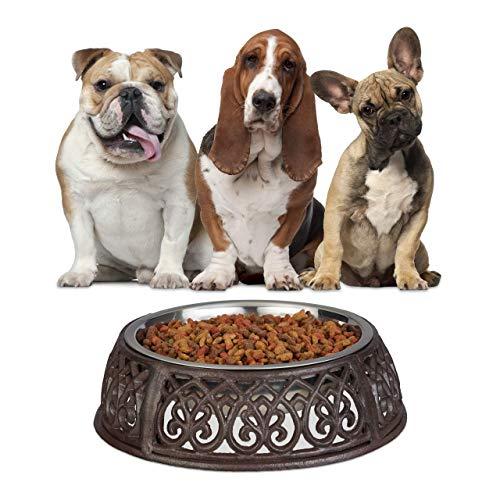 Relaxdays Futternapf Antik, Hunde, Nostalgie, Landhaus-Stil, schwer, Gusseisen Napfhalter, Edelstahl Fressnapf 1l, braun