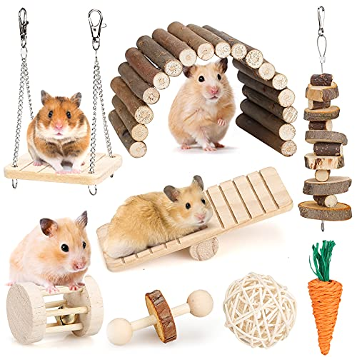 Hamster Chew Toys Set Small Animal Molar Toys Teeth Care Wooden Accessories for Guinea Pigs,Chinchillas,Gerbils,Mice,Rats,Mouse Rodents Toy Swing Seesaw Bridge