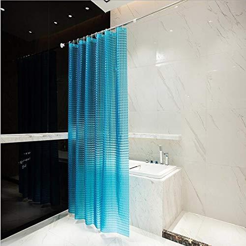 S-Chason Duschvorhang 3D Wasserwürfel Halb-transparent 100prozent EVA Wasserdicht Anti Schimmel/180 x 180cm mit 12 Ringe /Blau