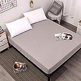 XGguo Protector de colchón/Cubre colchón Acolchado de Fibra antiácaros, Transpirable, Sábana Impermeable Color Puro orina-Gris_80cmX200cmX30cm