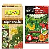 Flower 30587 30587-Triple Acción Ecológico Concentrado, No Aplica, 9.6X5.7X19 Cm + Abonos - Fertilizante Quelato De Hierro sobre para 5L - Batlle