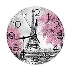 Dujiea Eiffel Tower Sakura Round Wall Clock Silent Non Ticking Battery Operated 9.5 Inch for Student Office School Home Decorative Clock Art